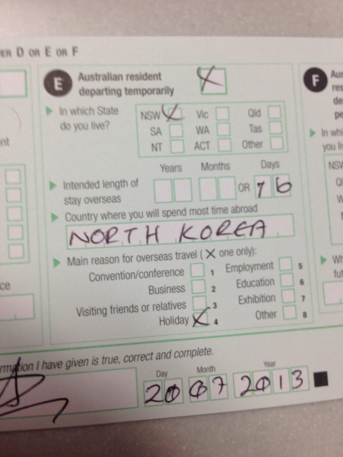Australian customs card, declares North Korea as my main location for this trip.