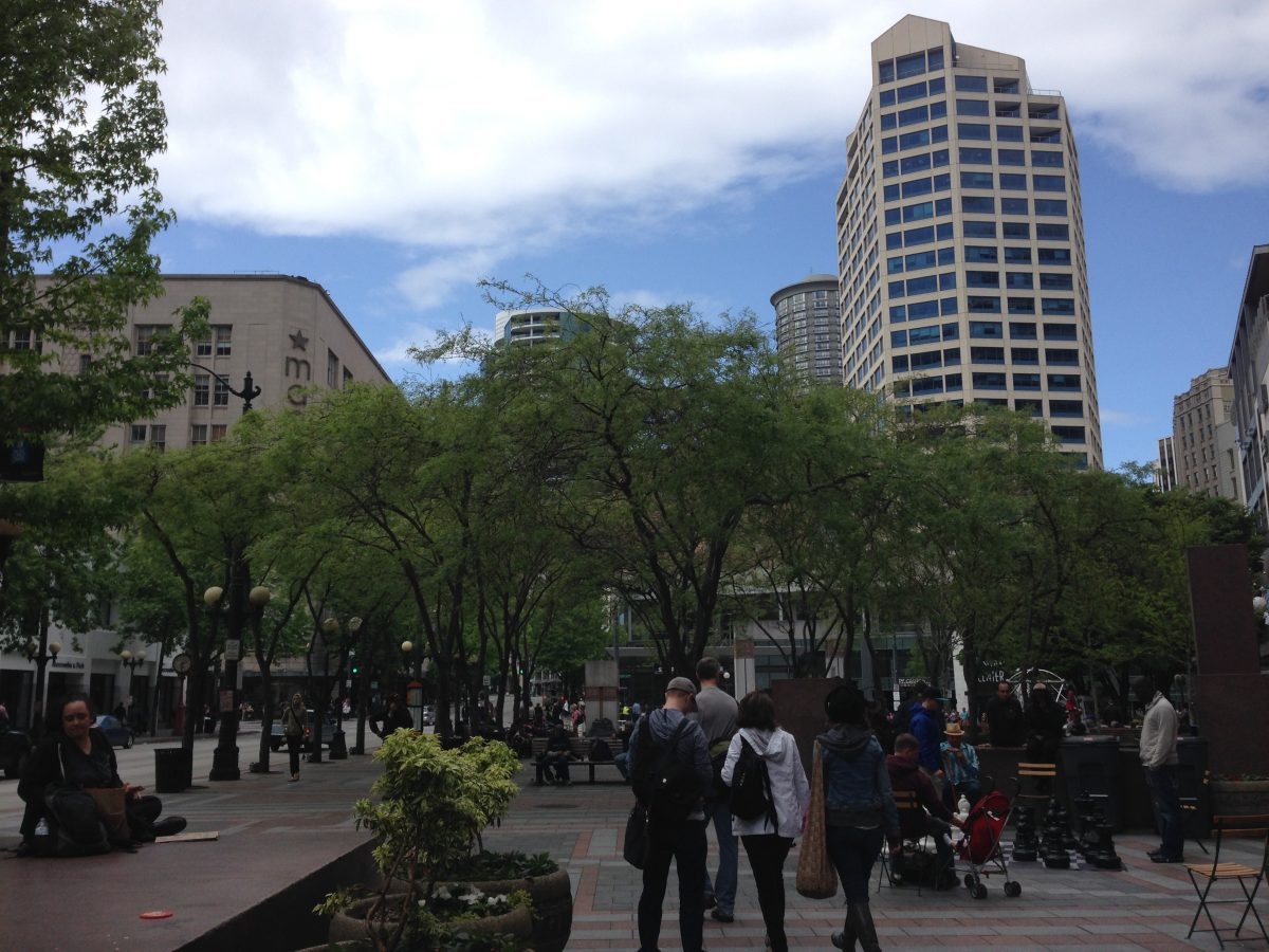 People playing chess in downtown Seattle