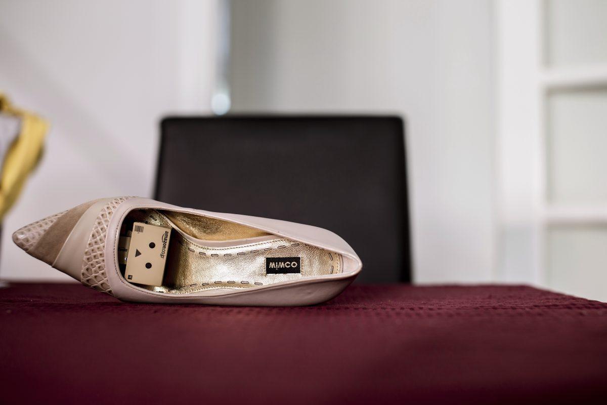 Danbo hiding in a shoe