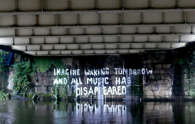 Bill Drummond's under-bridge graffiti